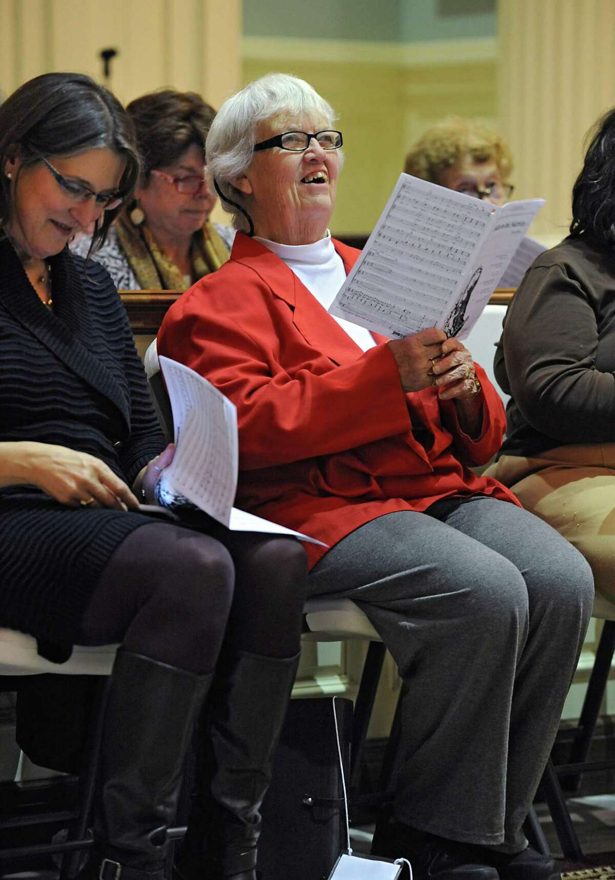 Rita Labrum, center, rehearses with the Festival Celebration Choir at First Lutheran Church on Monday, Nov. 16, 2015 in Albany, N.Y. (Lori Van Buren / Times Union)