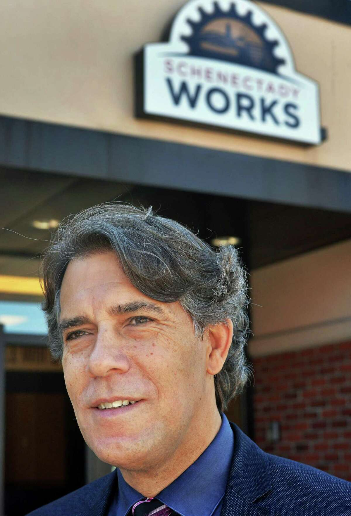 Bob Carreau of the Schenectady Foundation outside the Schenectady Works Career Training Center Wednesday Sept. 23, 2015 in Schenectady, NY. (John Carl D'Annibale / Times Union)