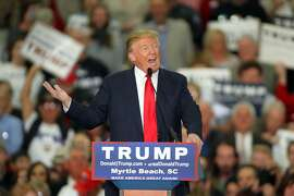Republican presidential candidate Donald Trump speaks during a campaign event at the Myrtle Beach Convention Center on Tuesday, Nov. 24, 2015, in Myrtle Beach, S.C. (AP Photo/Willis Glassgow)