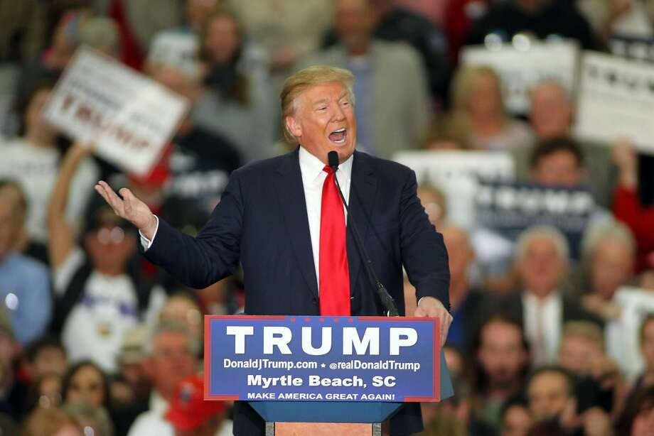 Republican presidential candidate Donald Trump speaks during a campaign event at the Myrtle Beach Convention Center on Tuesday, Nov. 24, 2015, in Myrtle Beach, S.C. (AP Photo/Willis Glassgow) Photo: Willis Glassgow, Associated Press