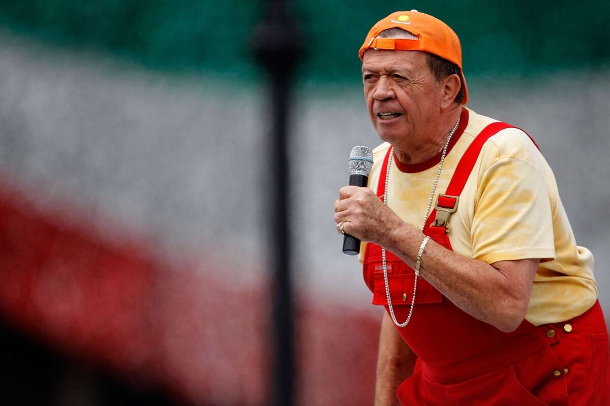 TV host and singer Xavier Lopez 'Chabelo' performs during the concert of the 199th anniversary of the Mexican Independence at Zocalo.