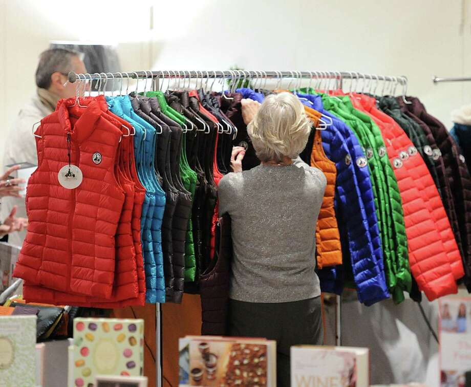 """The Antiquarius Holiday Boutique in 2014 featured Marty McFly-style puffy vests. The Greenwich Historical Society sponsors the event each year, and this year have included an opening party with a """"Back to the Future"""" themed evening set for 6:30 to 9 p.m. Dec. 3 at the Eastern Greenwich Civic Center, 90 Harding Road. Photo: Bob Luckey / Bob Luckey / Greenwich Time"""