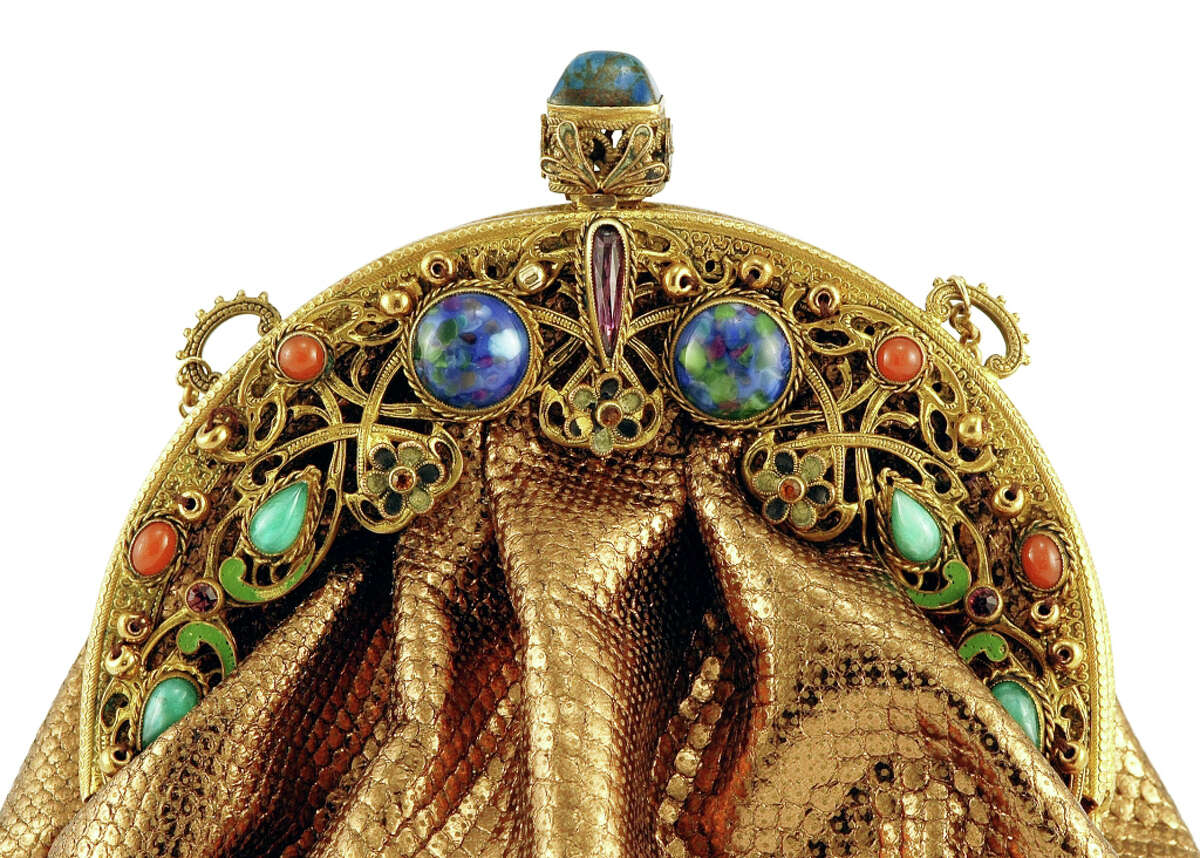This purse, with its arc of jewels and shimmery fabric, is an example of some of the antique handbags, purses and clutches that East Hampton, N.Y., dealer Nula Thanhauser is expected to bring to the Winter Antiques Show, one of the projects of the Greenwich Historical Society's Antiquarius fundraiser. A