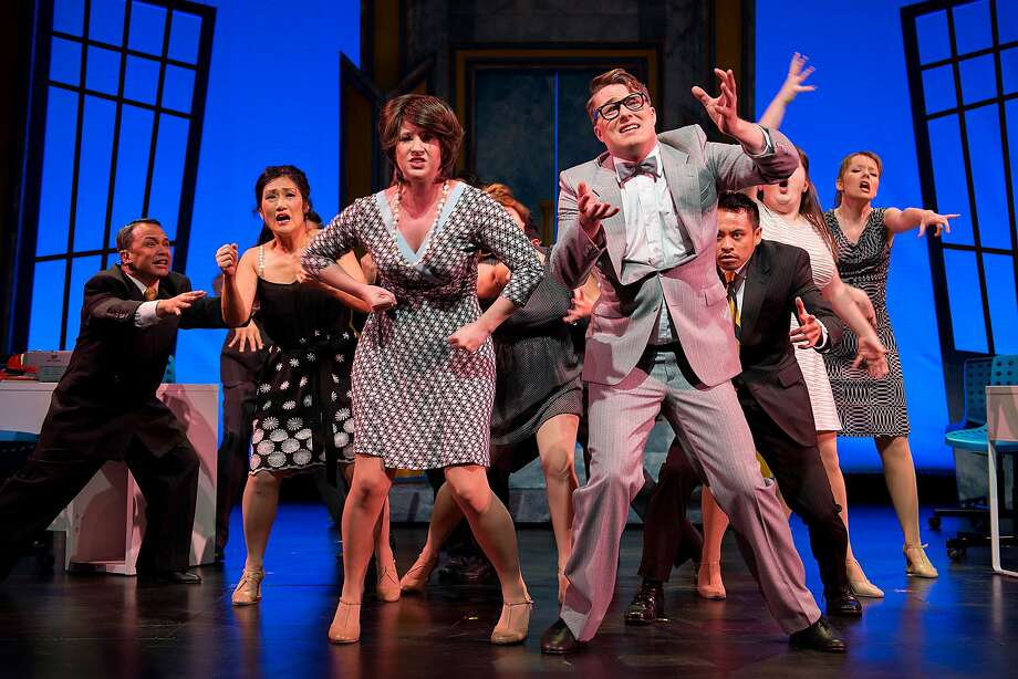 "Smitty (Nicole Frydman, center left), Bud Frump (Brendon North) and other fatigued works at World Wide Wicket Company dream of a coffee break in Bay Area Musicals' ""How to Succeed in Business Without Really Trying"" Photo: Ben Krantz"