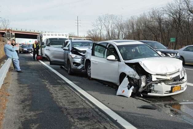 Scene of a multi-car accident on I-87 south just before the ramp to Crossgates Mall on Black Friday Nov. 27, 2015 in Guilderland, N.Y. (Lori Van Buren / Times Union) Photo: Lori Van Buren / 10034438A