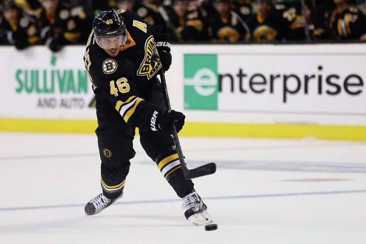 BOSTON, MA - NOVEMBER 27: David Krejci #46 of the Boston Bruins scores a goal against the New York Rangers during the third period at TD Garden on November 27, 2015 in Boston, Massachusetts. The Bruins defeat the Rangers 4-3. (Photo by Maddie Meyer/Getty Images) ORG XMIT: 574712843