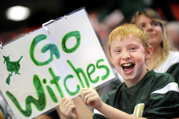 Greenwich fan Zachary Wiss, 11, shows his support during their Class C state final against  Chenango Forks on Friday, Nov. 27, 2015, at the Carrier Dome in Syracuse, N.Y. (Cindy Schultz / Times Union) Photo: Cindy Schultz / 10034462A