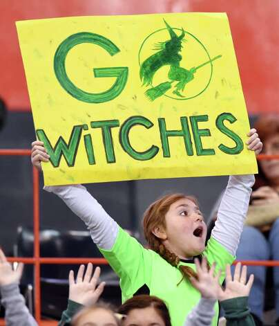 A Greenwich fan shows her support during their Class C state final against  Chenango Forks on Friday, Nov. 27, 2015, at the Carrier Dome in Syracuse, N.Y. (Cindy Schultz / Times Union) Photo: Cindy Schultz / 10034462A