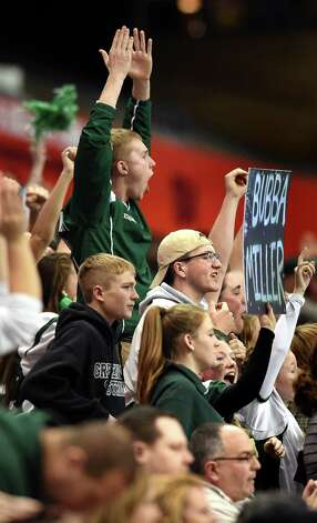 Greenwich fans cheer for their team during their Class C state final against  Chenango Forks on Friday, Nov. 27, 2015, at the Carrier Dome in Syracuse, N.Y. (Cindy Schultz / Times Union) Photo: Cindy Schultz / 10034462A