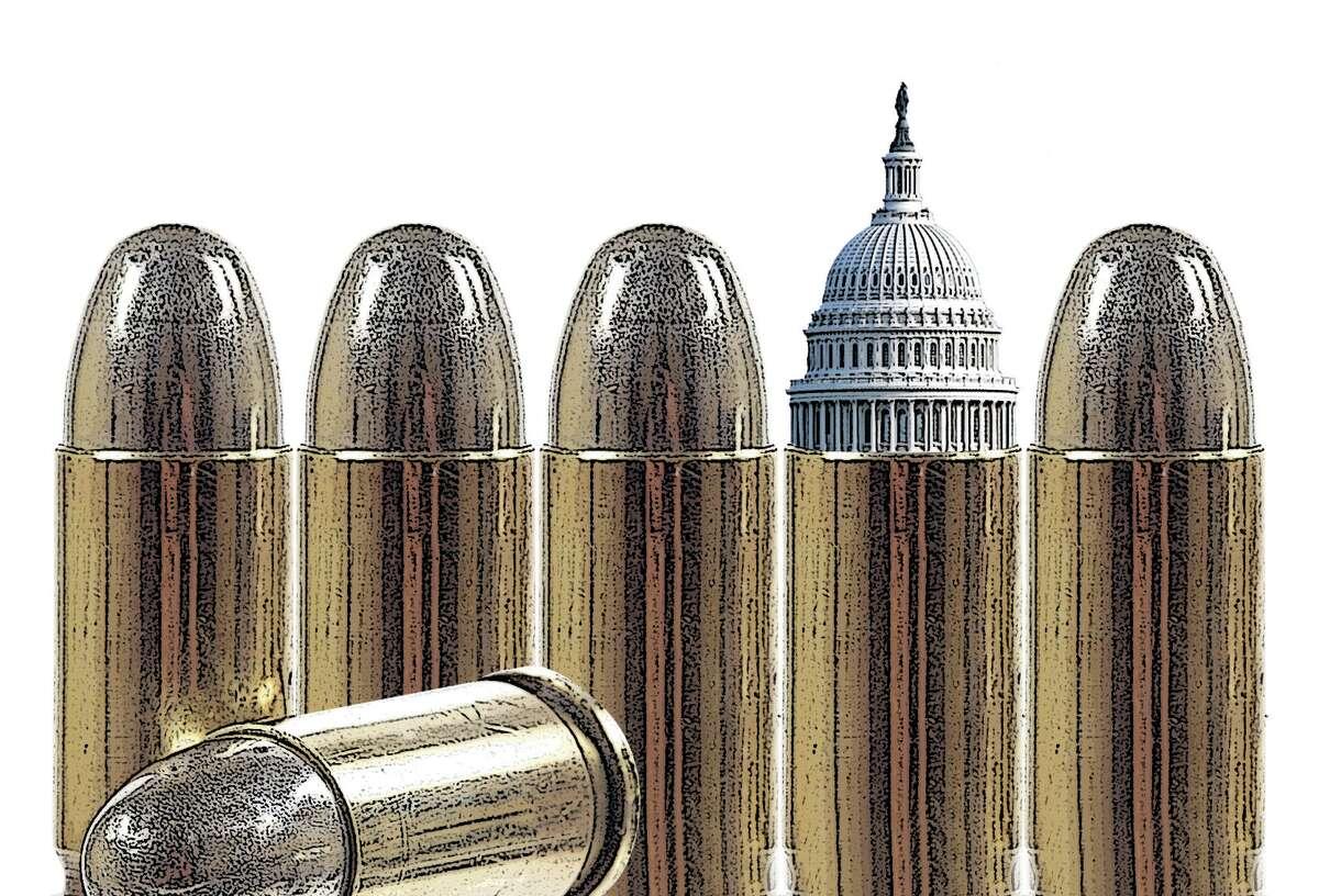 Photo illustration for gun debate in Washington