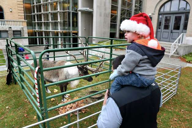 Vinnie Karl, 2, of Guilderland sits atop his father, T.J. Karl, as they watch Buddy, a 5-year-old reindeer, during Home for the Holidays free admission weekend on Saturday, Nov. 28, 2015, at Albany Institute of History and Art in Albany, N.Y. The event continues, sans reindeer, on Sunday from noon to 4:30 p.m. (Cindy Schultz / Times Union) Photo: Cindy Schultz / 10034425A