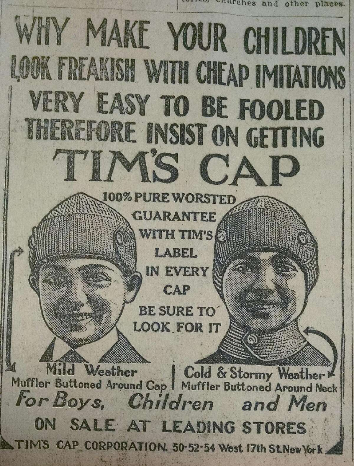 Are you ready for the winter? Folks in 1925 could take advantage of these hats, advertised in the Albany Sunday Telegram of Nov. 29 -- and maybe they'd get through a freak (wink) snowstorm. (Times Union archive)