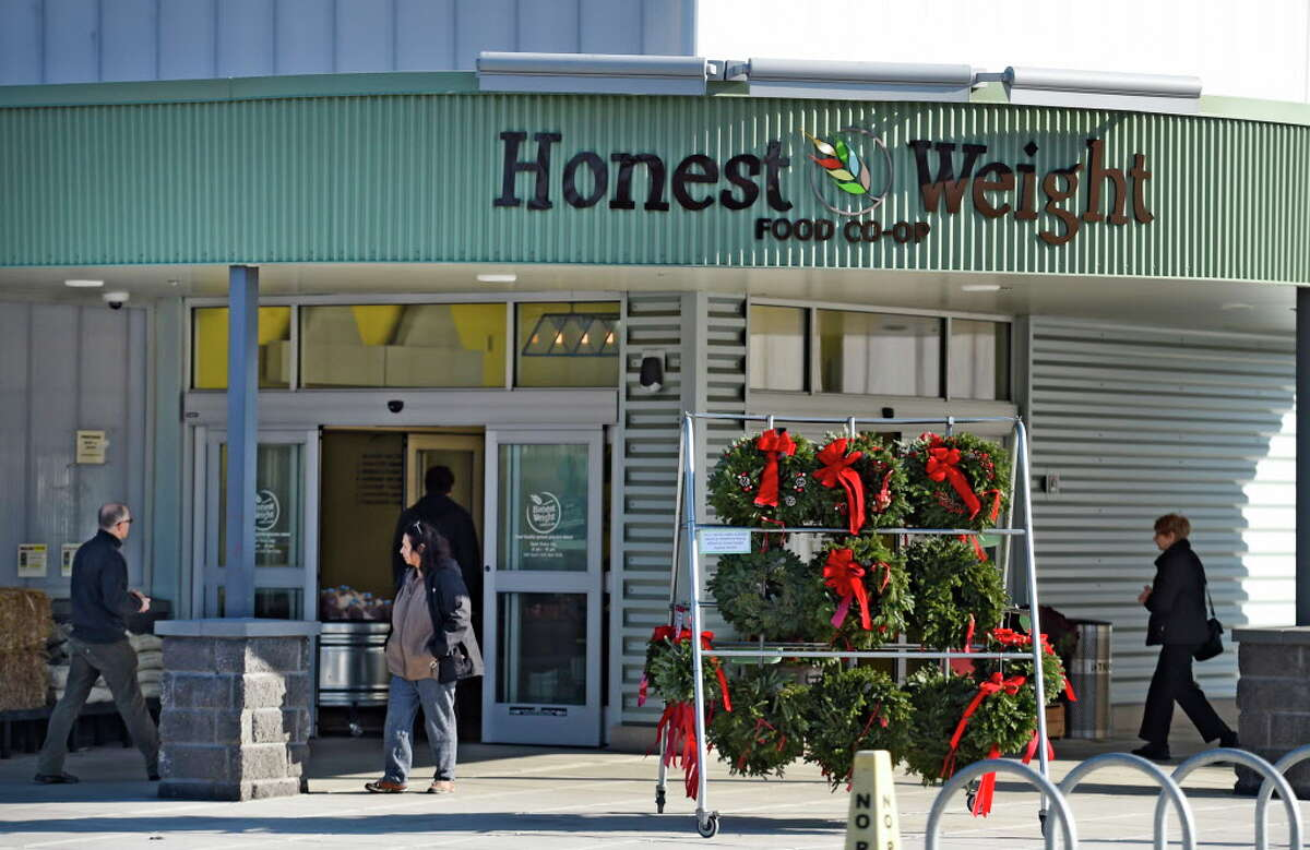 Exterior view of the marque of the Honest Weight Food Co-op, where members are weighing whether to oust the board of directors. (Skip Dickstein/Times Union)