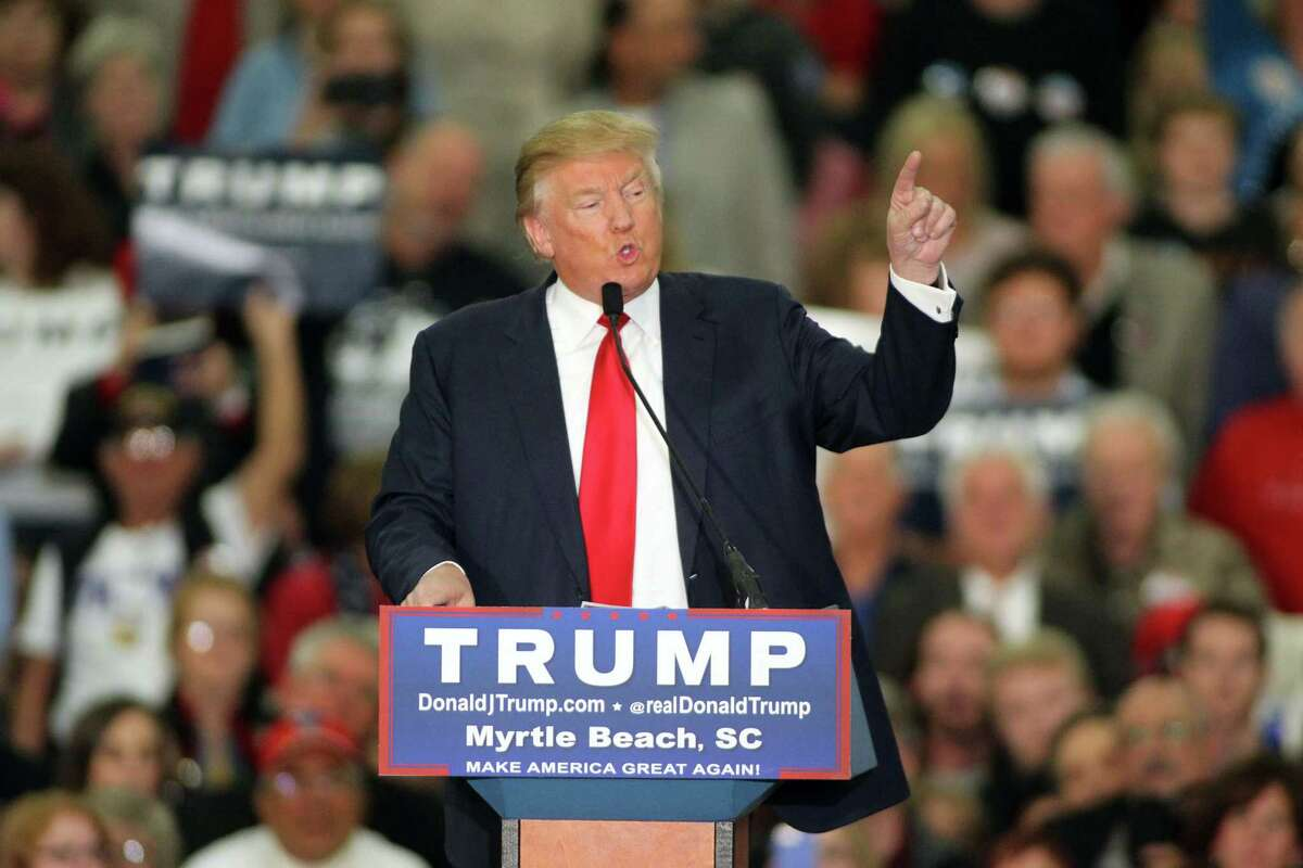 In this photo taken on Nov. 24, 2015, Republican presidential candidate Donald Trump speaks during a campaign event at the Myrtle Beach Convention Center in Myrtle Beach, S.C. (AP Photo/Willis Glassgow, File)