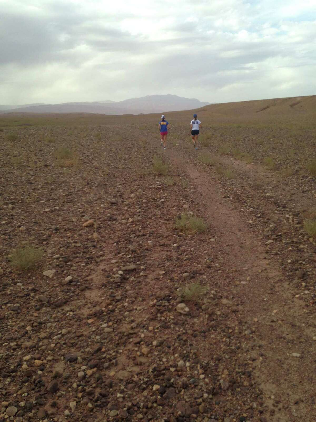 Nora Reynolds and Elizabeth Clinton run during a trip to Morocco in August to prepare for a running and leadership camp for the women there in January. (Courtesy of Nora Reynolds)