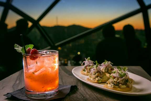 "The ""Van Ness Press"" cocktail with the Prawn Tostadas at the View Lounge in the Marriott Hotel in San Francisco, Calif. is seen on Saturday, November 28th, 2015."