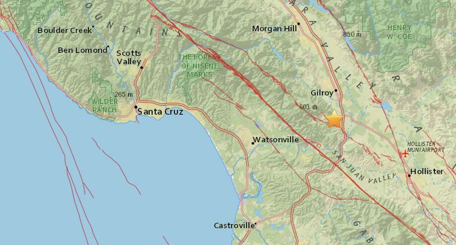 A magnitude-2.8 earthquake struck near Gilroy on Sunday, Nov. 29, 2015. Photo: USGS