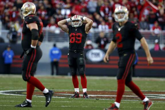 Vance McDonald reacts in disappointment after the 49ers fail to convert a 4th down on their final drive during a game between the San Francisco 49ers and the Arizona Cardinals at Levi's Stadium in Santa Clara, California, on Sunday, Nov. 29, 2015.