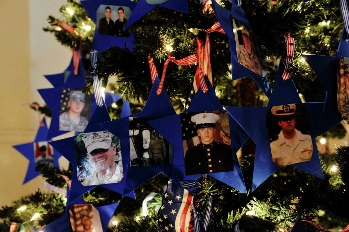 A view of the Blue Star Mothers, Capital Region, tree on display at the YWCA Northeaster NY, as part of the 2015 Festival of Trees presented by the YWCA Northeastern NY and the Schenectady County Historical Society seen here on Sunday, Nov. 29, 2015, in Schenectady, N.Y. The festival of trees runs through December 13th. The trees and be viewed Monday through Friday from noon to 5pm and on Saturday and Sunday from 10am to 4pm. Tickets cost $5 for adults, $2 for children 5 years to 15 years old, and children under 5 are free. Five of the trees on display this year will be raffled off after the last day of the festival. Raffle tickets are available at both the YWCA and the Historical Society. (Paul Buckowski / Times Union)