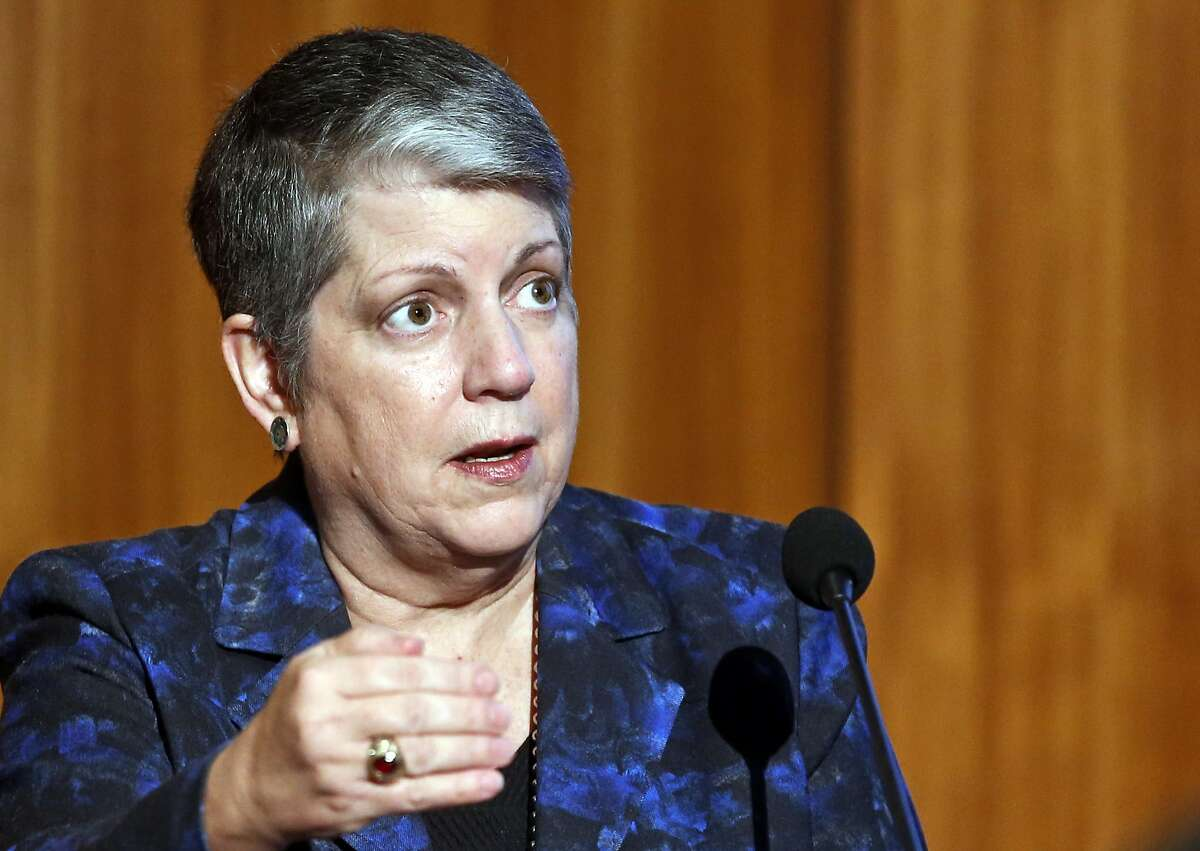 FILE - In this Oct. 27, 2015 file photo, Janet Napolitano, president of the University of California, speaks at Carbon Neutrality Initiative at the University of California, San Diego. The University of California announced Sunday, Nov. 29, 2015, it has pledged $1 billion over the next five years toward research and development of clean energy technology to fight climate change as part of a coalition led by Microsoft founder and philanthropist Bill Gates. (AP Photo/Lenny Ignelzi, File)