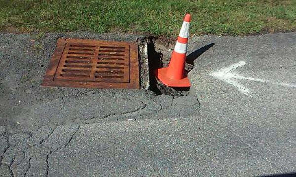 This photo shows the hole on Quarry Drive. (Provided by Harvey Martel)