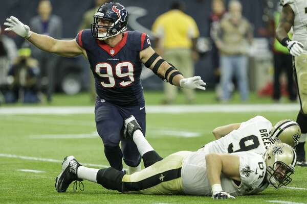 Houston Texans defensive end J.J. Watt (99) reacts after sacking New Orleans Saints quarterback Drew Brees (9) during the third quarter of an NFL football game at NRG Stadium on Sunday, Nov. 29, 2015, in Houston. ( Brett Coomer / Houston Chronicle )