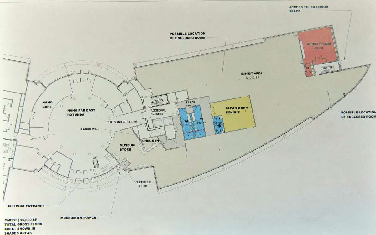 A copy of a early version floor plan for a space at the Colleges of Nanoscale Science and Engineering at SUNY Polytechnic Institute that would become the new home of a proposed children's science museum, seen here on Monday, Nov. 9, 2015, in Albany, N.Y. (Paul Buckowski / Times Union)