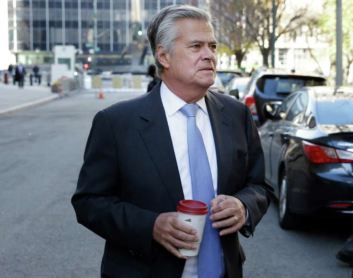 New York Sen. Dean Skelos arrives to court in New York, Tuesday, Nov. 17, 2015. Jury selection is expected to continue Tuesday in the corruption trial of Skelos, who is facing federal charges that he extorted bribes from companies with business before the state. (AP Photo/Seth Wenig) ORG XMIT: NYSW106