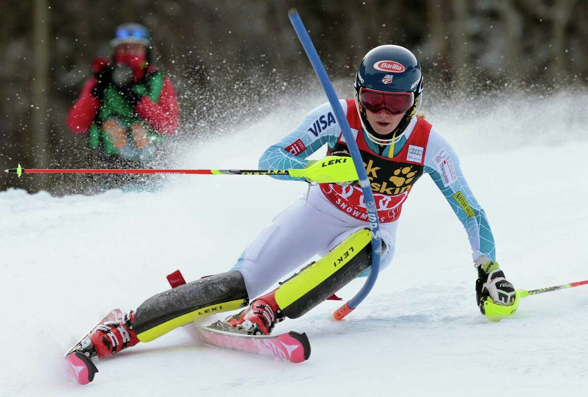 United States' Mikaela Shiffrin speeds down the course during the women's World Cup slalom ski race Sunday, Nov. 29, 2015, in Aspen, Colo. (AP Photo/Nathan Bilow) ORG XMIT: COJL122
