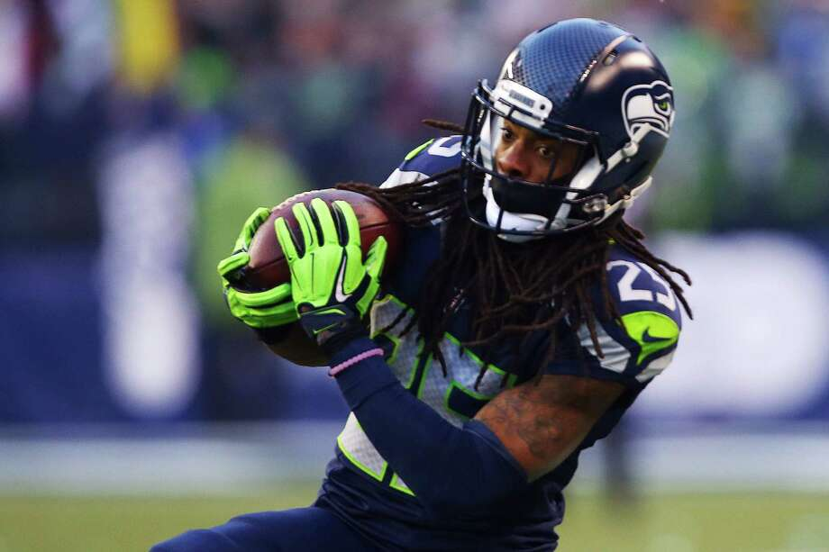 Seahawks' Richard Sherman intercepts a pass intended for Steelers' Antonio Brown in the fourth quarter of Seattle's game against Pittsburgh, Sunday, Nov. 29, 2015. Photo: GENNA MARTIN, SEATTLEPI.COM / SEATTLEPI.COM