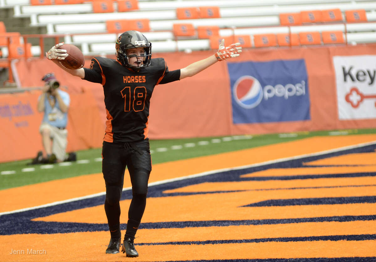 Schuylerville's Tanner Dunkel reacts after scoring a touchdown during the Class B State Championship against Cazenovia, Sunday, Nov. 30, 2015, in Syracuse, N.Y. (Jenn March/Special to the Times Union)