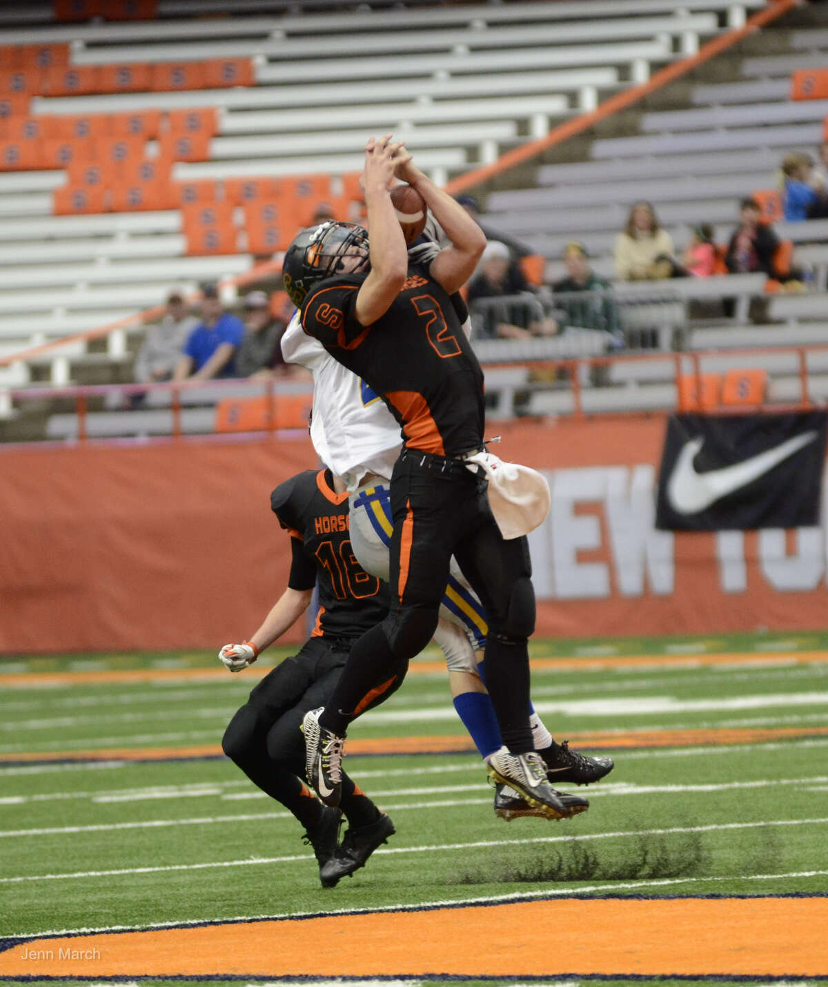 Schuylerville defensive back Will Griffen attempts an interception from a throw by Cazenovia during the Class B State Championship, Sunday, Nov. 30, 2015, in Syracuse, N.Y. (Jenn March/Special to the Times Union)