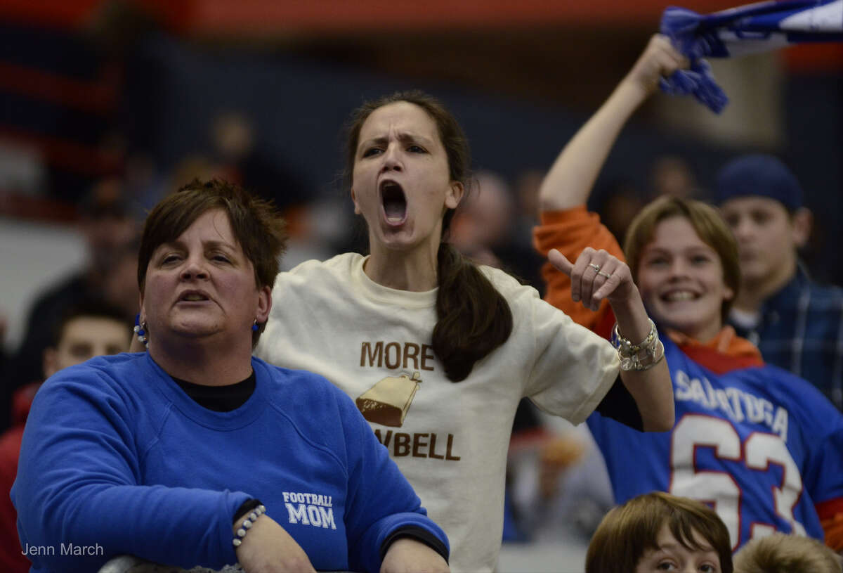 Spectators cheer for Saratoga during the Class AA State Championship against Aquinas, Sunday, Nov. 30, 2015, in Syracuse, N.Y. (Jenn March/Special to the Times Union)