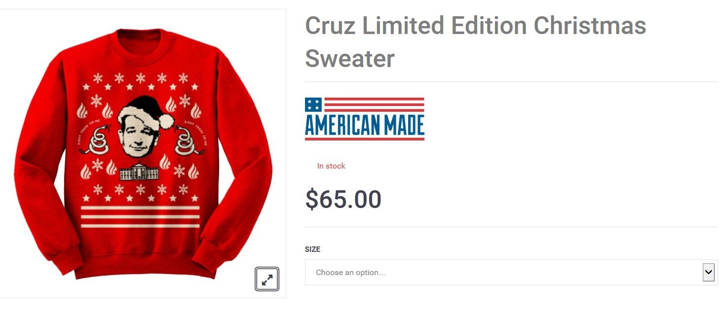 Ted Cruz selling ugly Christmas sweater for Cyber Monday 2015 ...