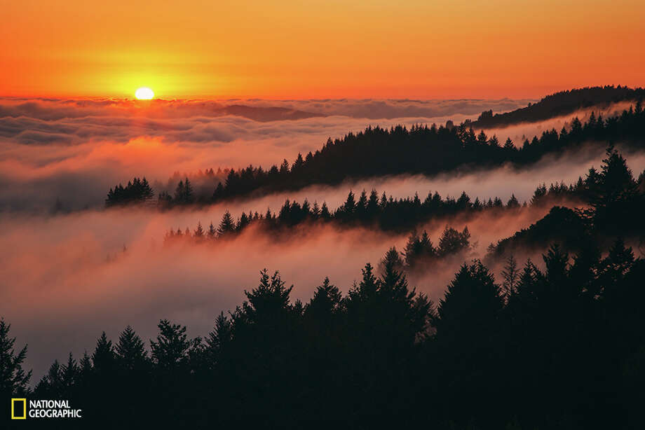 """Sunset Above the Fog""""A warm and peaceful sunset above the fog at Mount Tamalpais, Northern California."""" Location:Mill Valley, CaliforniaPhoto and caption by Vincent James/ 2015 National Geographic Photo Contest"""