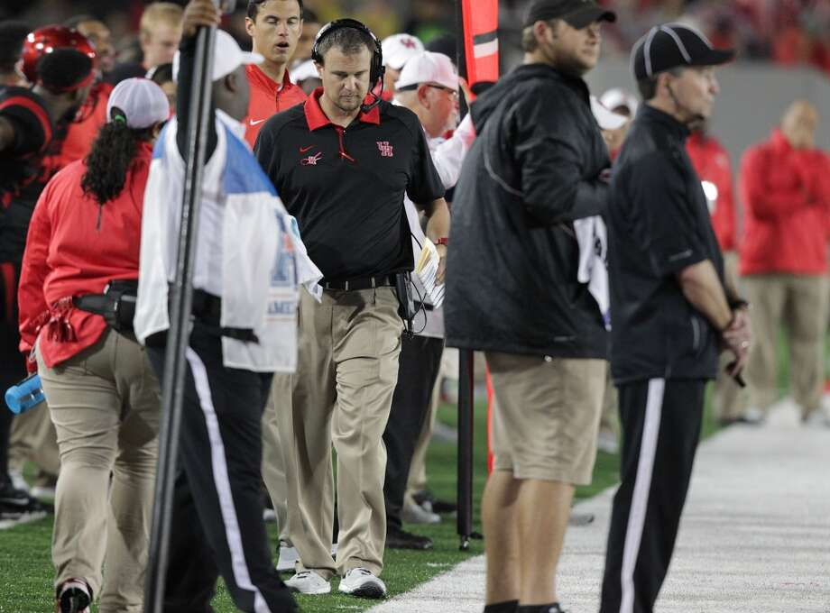Houston Cougars head coach Tom Herman walks the sidelines in the second half of game action against Vanderbilt  on Saturday, Oct. 31, 2015, in Houston.  Houston won the game 34-0. ( Elizabeth Conley / Houston Chronicle ) Photo: Houston Chronicle