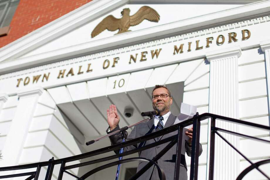 Newly elected mayor David Gronbach thanks family and friends (and the other new commission and board members) after being sworn in on the steps of Town Hall in New Milford on Sunday, Nov. 29th at 2:00pm. Photo: Trish Haldin, For Hearst Connecticut Media / The News-Times Freelance