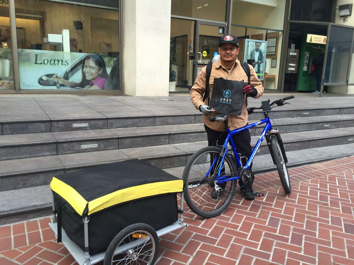 Uber Eats cyclist, Esau Marquez, 47, came to the rescue moments after a homeless woman gave birth to a baby at Market and Sixth streets in San Francisco last week.