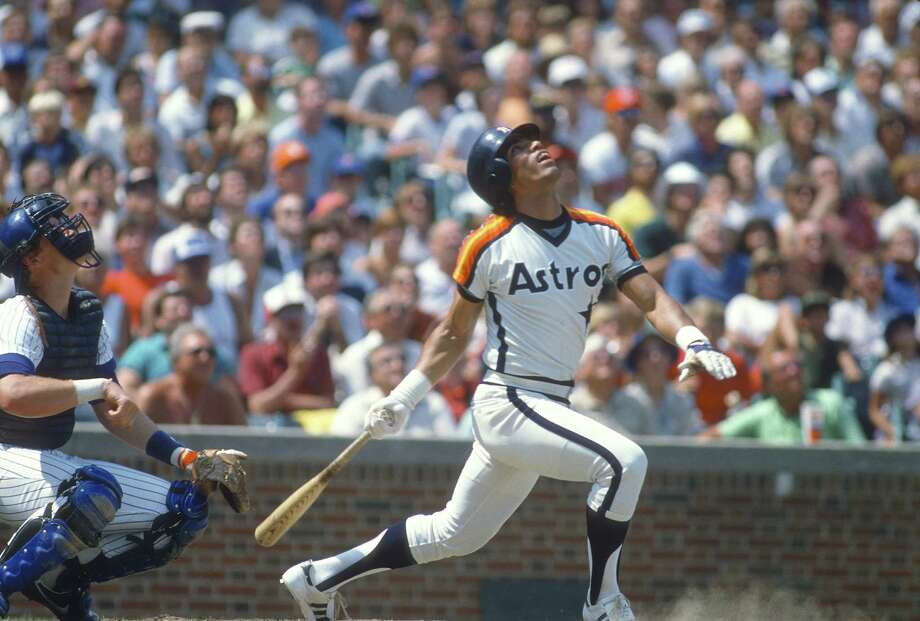 CHICAGO, IL - CIRCA 1980: Outfielder Jose Cruz #25 of the Houston Astros bats against the Chicago Cubs during an Major League Baseball game circa 1980 at Wrigley Field in Chicago, Illinois. Cruz played for the Astros  from 1975-87. Photo: Focus On Sport, Getty Images / 1980 Focus on Sport