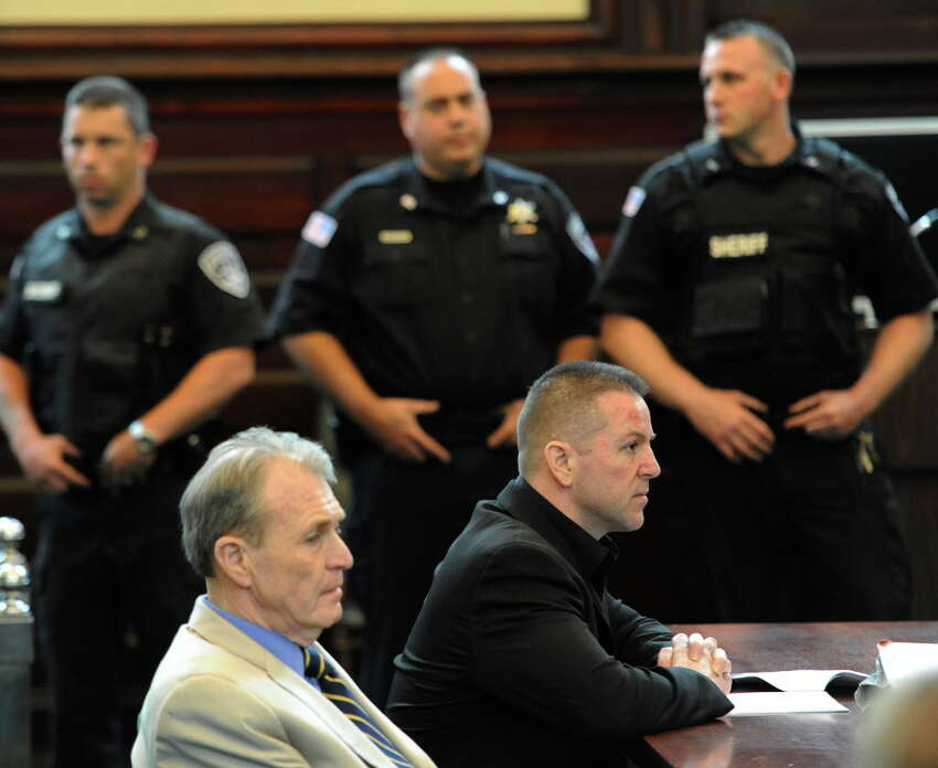 Michael Mosley, with his attorney Terry Kindlon, left, after being convicted on a charge of murder in Rensselaer County Court House in Troy, N.Y. June 2, 2011. (Skip Dickstein / Times Union)