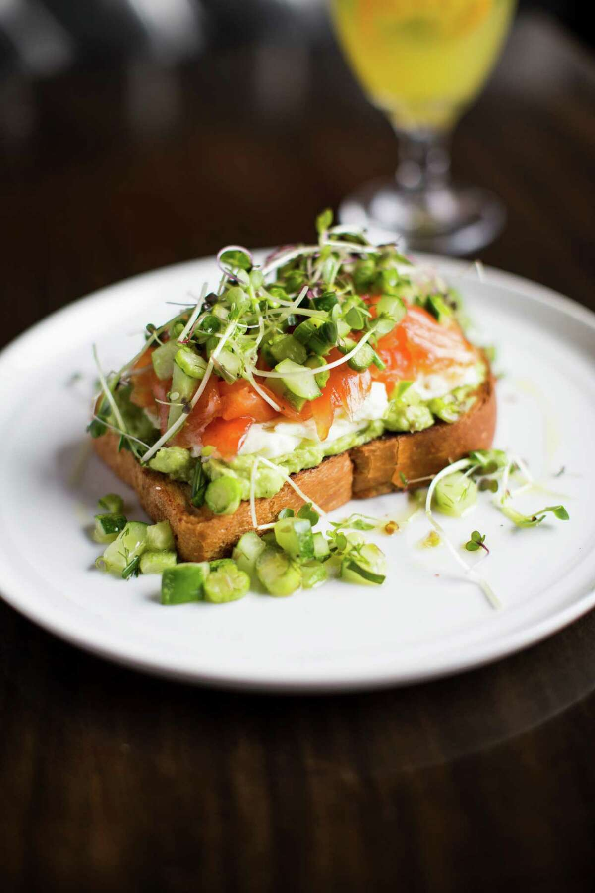 Smoked Salmon Toast as served at Benjy's in Rice Village.