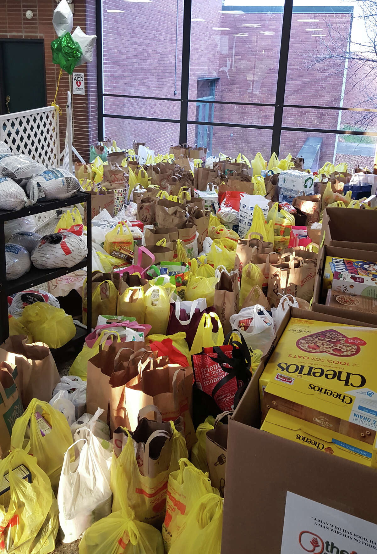 Trinity Catholic High School donated more than two tons of food to The Food Bank of Lower Fairfield County last week.