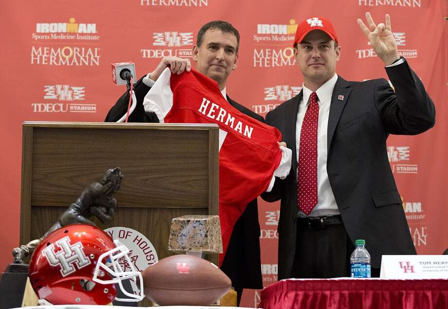 Dec. 16, 2014:Tom Herman becomes the 13th football coach in UH history, signing a five-year deal worth at least $6.75 million. The $1.35 million annual salary is most in school history. Photo: Thomas B. Shea, For The Chronicle
