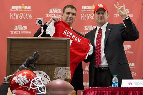 Dec. 16, 2014:  Tom Herman becomes the 13th football coach in UH history, signing a five-year deal worth at least $6.75 million. The $1.35 million annual salary is most in school history.