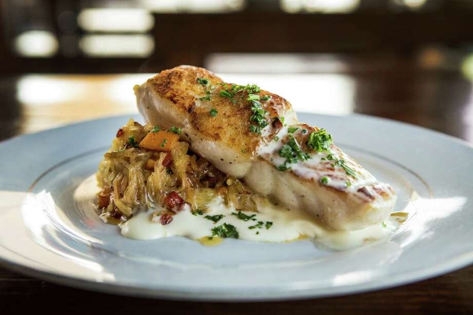 Southern Goods' Gulf Catch, with seasonal squash, satsuma, beurre blanc and gulf shrimp is shown on Tuesday, Nov. 24, 2015, in Houston. ( Brett Coomer / Houston Chronicle ) Photo: Brett Coomer, Staff / © 2015 Houston Chronicle