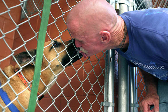 A Haven for Hope resident visits his dog in the facility's kennel. Volunteers are needed to help care for the pets.