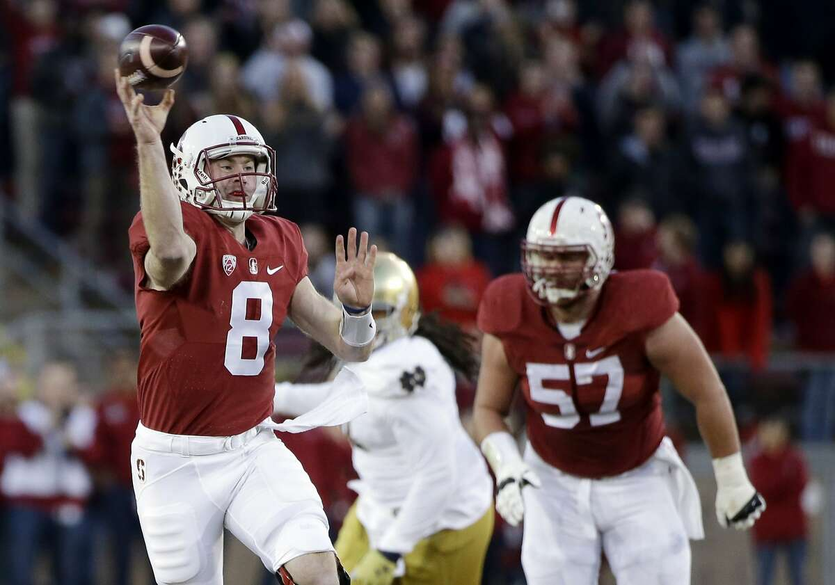 Stanford quarterback Kevin Hogan during an NCAA college football game against Notre Dame Saturday, Nov. 28, 2015, in Stanford, Calif. (AP Photo/Marcio Jose Sanchez)