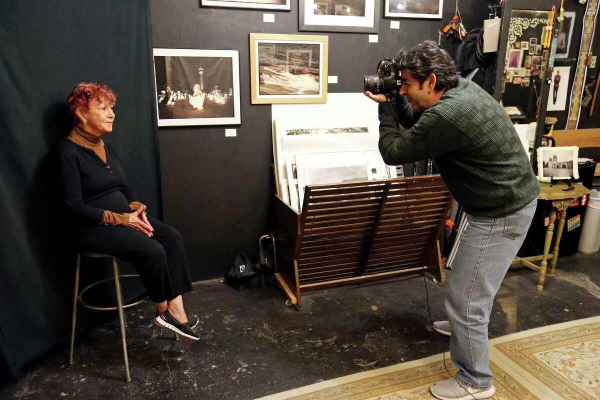 Art appraiser Anne Alexander (left) is photographed by photographer Ramin Samandari at his Magical Realism Studio.