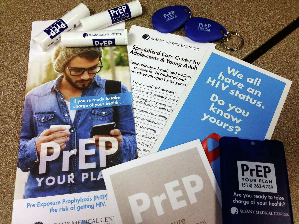 A view of some of the materials that are being handed out through Albany Medical Center about medication for pre-exposure prophylaxis, or PrEP, intended for people who are at high risk for contracting HIV. Photo taken on Monday, Nov. 30, 2015, at the Times Union in Colonie, N.Y. (Paul Buckowski / Times Union)
