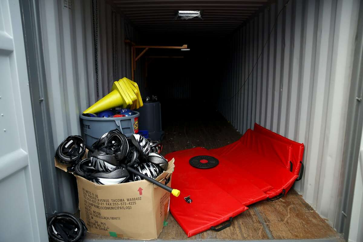 The storage container where the stolen bicycles were held at Visitacion Valley Middle School in San Francisco, California, on Monday, Nov. 30, 2015.
